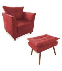 combo poltrona decorativa isis mais puff opalla suede vermelho - ds móveis