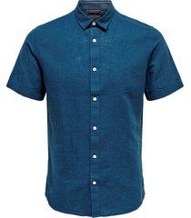 blauw only & sons onscaiden ss linen shirt re overhemd