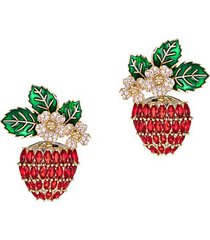 luxe lina red & white cubic zirconia strawberry stud earrings