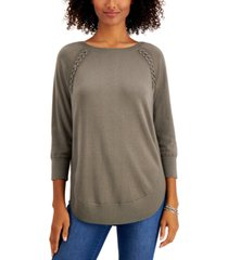 style & co braided lace-up tunic top, created for macy's