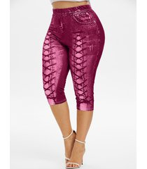 plus size 3d lace up jean print cropped leggings