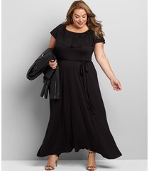 lane bryant women's convertible off-the-shoulder belted maxi dress 22/24 black
