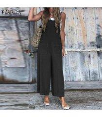 zanzea jumpsuit holgado de verano para mujer mameluco mono largo para mujer pantalones largos (no incluye la camisa) -negro