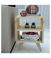 mesa de cabeceira/criado mudo natural & colors 3 prateleiras naturais pé mini único