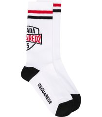 dsquared2 logo print mid-length socks - white