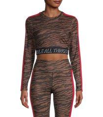 pam & gela women's tiger-print cropped top - tiger - size xs
