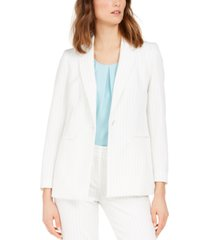 nine west pinstriped single-button jacket