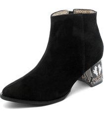 botín carnaza negra con detalle en tacón heels.d