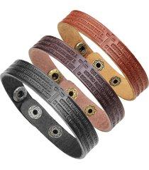 braccialetti di parole italiane di cuoio genuino del braccialetto di scrittura trasversale degli uomini di modo