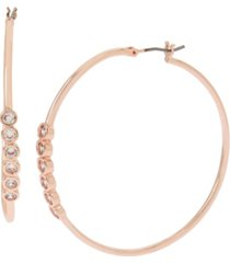 jessica simpson cubic zirconia stone bar hoop earrings, 2""