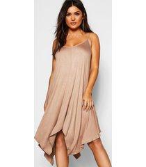 asymmetric hem strappy swing dress, camel