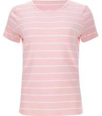 camiseta rosa con lineas blancas color naranja, talla l