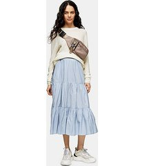 pale blue taffeta tiered plain skirt - pale blue