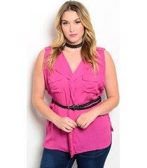 womens shirt solid pink sleeveless belt pockets plus size 2xl 3xl zenobia