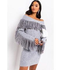 akira indecisive long sleeve fringe off the shoulder sweater dress