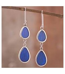 natural leaf dangle earrings, 'petal illusion in blue' (peru)