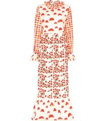helmstedt picnic-print quilted maxi dress - red