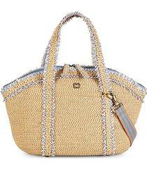 ruffled-trimmed straw crossbody bag