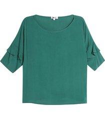 blusa unicolor arandelas color verde, talla 8