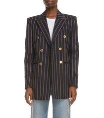women's saint laurent double breasted stripe wool blazer, size 14 us - black