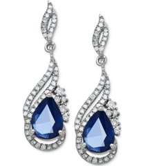 sapphire (1-3/4 ct. t.w.) and diamond (1/3 ct. t.w.) drop earrings in 14k white gold