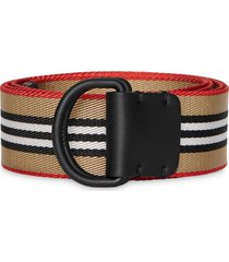 burberry icon stripe double d-ring belt - neutrals