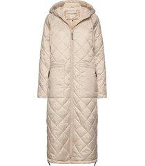 padded coat gevoerde lange jas beige ilse jacobsen