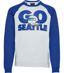 seattle seahawks nike go helmet historic raglan sweatshirt sweat-shirt tröja blå nike fan gear