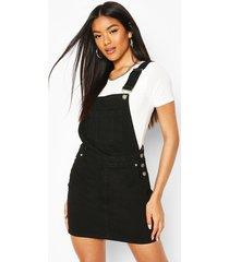 denim dungaree pinafore dress, black