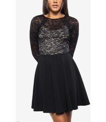 b darlin juniors' bow-back lace skater dress