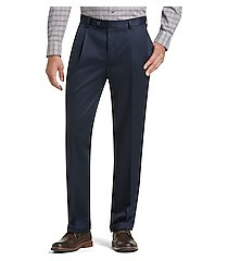 traveler collection traditional fit pleated front twill pants - big & tall by jos. a. bank
