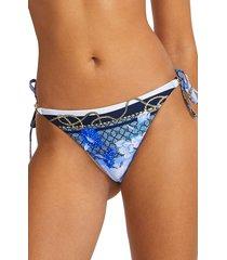 women's river island floral & chain print side tie bikini bottoms, size 6 us - blue