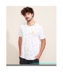 camiseta masculina estampada hommer simpson manga curta gola careca branco