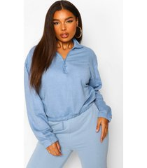 plus korte sweater met halflange rits, blue