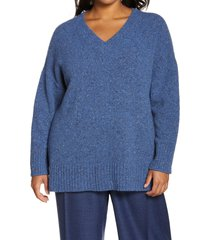 lafayette 148 new york donegal cashmere & wool blend sweater, size 1x in tile blue multi at nordstrom