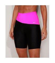 bermuda feminina esportiva ace cintura alta color block preta