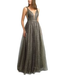 basix black label gold-tone metallic tulle gown
