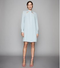 reiss anais - cut out detail shift dress in pale blue, womens, size 12