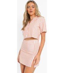korte linnen blouse met krijtstrepen en mini rokje, orange