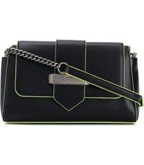 dkny bolsa tiracolo val com acabamento neon - preto