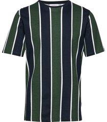 striped box tee s/s t-shirts short-sleeved grön lindbergh