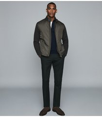 reiss harlow - wadded jacket with knitted sleeves in sage, mens, size xxl