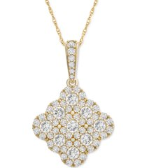 """diamond cushion cluster 18"""" pendant necklace (1 ct. t.w.) in 14k gold or 14k white gold"""
