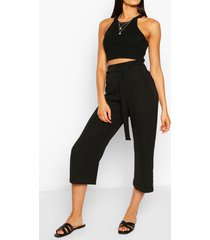 tall belted woven culottes, black