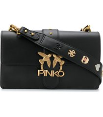 pinko seventies leather shoulder bag - black