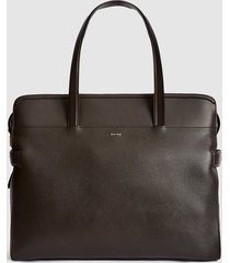 reiss harley - leather tote in dark brown, womens