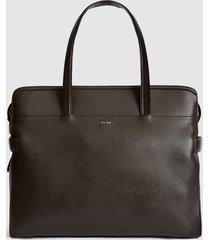 reiss harley - leather tote in dark brown, womens