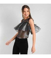 blusa para mujer en mesh negro