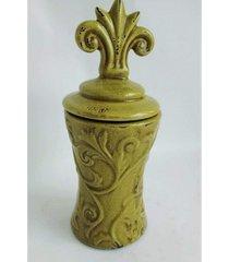 potiche cerâmica com tampa na cor verde