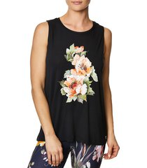 betsey johnson performance women's stay wild floral muscle tank top - black - size s